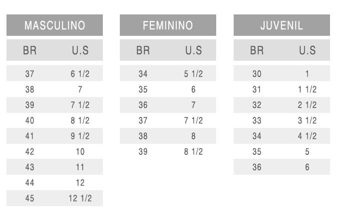 Tabela de conversão Adidas
